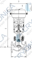 Запорный клапан типа T202Z20P-50P с пневматическим приводом
