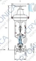 Запорный клапан типа T203QA25-250 с пневматическим приводом