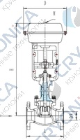 Криогенный запорный клапан типа T252DZ100M-250M с пневматическим приводом