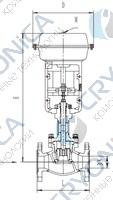 Запорный клапан типа T252Z100M-250M с пневматическим приводом