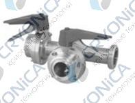Клапан запорный 3-х ходовой 90° с двумя затворами